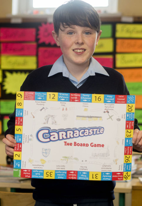 Ryan Murphy, a Pupil at Carracastle National School pictured with 'Carracastle - The board game' designed around their village - the result of a project undertaken by his class in the Junior Entrepreneur Programme, supported by their teacher Michael Bracken. The Carracastle board games sells for €10 and is expected to return a healthy profit for the investment that each pupil is making. Pupils in the class undertook every part of the project from market research to finance, production, design and sales. The Carracastle pupils are among 10,000 around Ireland currently participating in JEP, a not for profit initiative led by Entrepreneur Jerry Kennelly. The programme is supported in Mayo by CMS Peripherals and its founder Frank Salmon.