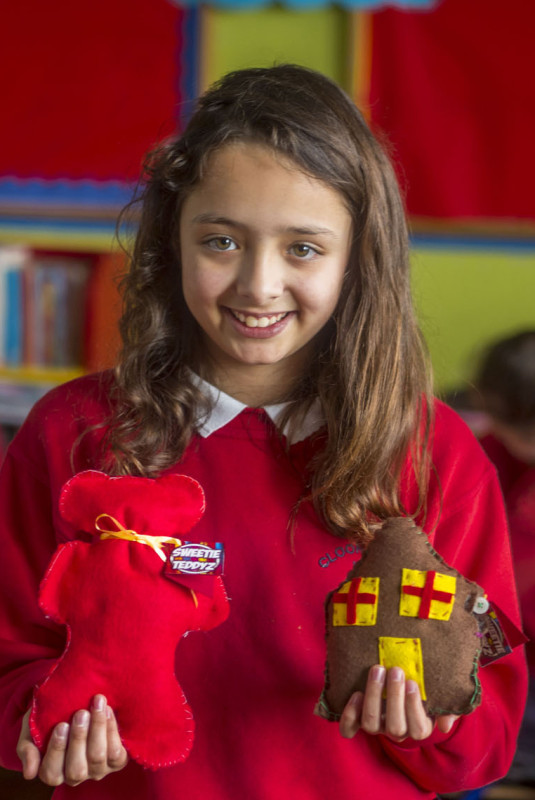 Alanna Aristotelous, a pupil at Clooncagh National School, Co. Roscommon pictured with 'Sweetie Teddiz' - a handmade teddy with sweets inside - the result of a project undertaken by her class in the Junior Entrepreneur Programme, supported by their teacher Ruth Kelly. 50 Sweetie Teddiz were sold netting the young pupils €152 profit - a healthy investment on their €2 investment. Pupils in the class undertook every part of the project from market research to finance, production, design and sales - and each made a personal investment in the venture. The Clooncagh pupils are among 10,000 around Ireland currently participating in JEP, a not for profit initiative led by Entrepreneur Jerry Kennelly. The programme is supported in Roscommon by entrepreneur Tom Morrisroe.