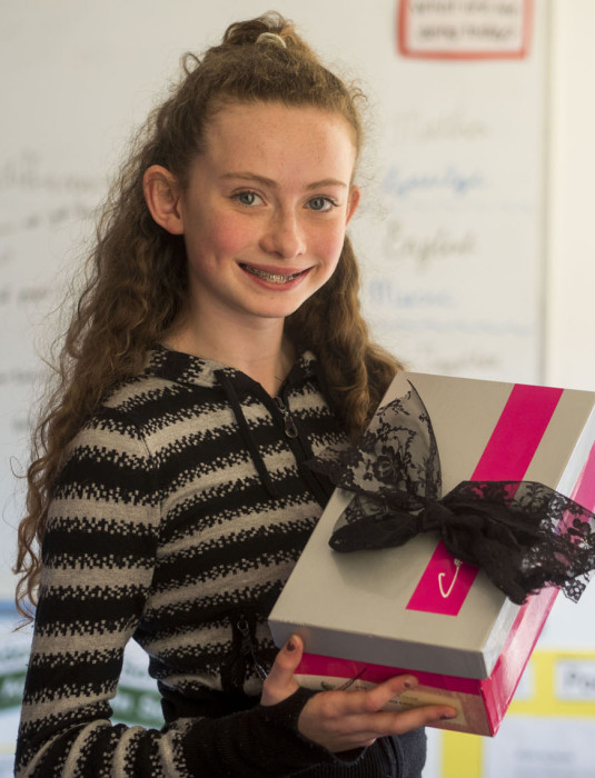 Maddie Flynn a pupil at Rush and Lusk Educate Together National School pictured with 'Brownie Boxes' - a kit of ingredients to make the perfect brownies - the result of a project undertaken by her class in the Junior Entrepreneur Programme, supported by their teachers Grainne Craig and Fiona O'Brien. Each child invested €3 and the class expects to make a profit of  €150 in profit. Pupils in the class undertook every part of the project from market research to finance, production, design and sales. The Rush & Lusk pupils are among 10,000 around Ireland currently participating in JEP, a not for profit initiative led by Entrepreneur Jerry Kennelly. The programme is supported in One4all group and its CEO Michael Dawson.