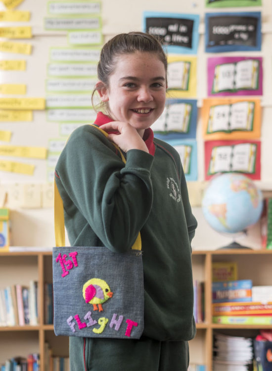 Chloe O'Meara,  a pupil at Scoil Mhuire Gan Smál National School, School Ave, Glasheen, Cork, pictured with 'Handy Handbags' - the result of a project undertaken by their class in the Junior Entrepreneur Programme, supported by their teacher Lisa O'Leary. The Handy Handbags are due to net the pupils a substantial profit on their investment of €2 each. Pupils in the class undertook every part of the project from market research to finance, production, design and sales. The Glasheen pupils are among 10,000 around Ireland currently participating in JEP, a not for profit initiative led by Entrepreneur Jerry Kennelly.