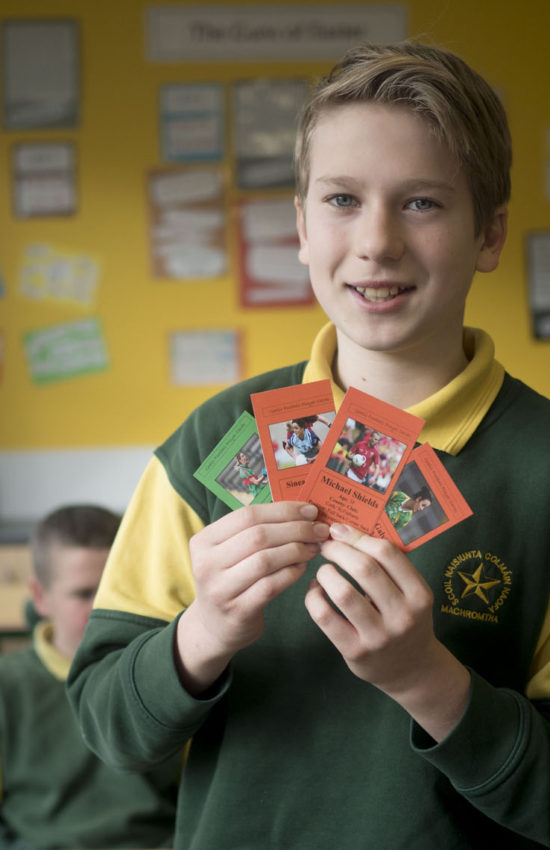 Emilis Valisius a pupil at St. Colman's Boys National School, Macroom, Co. Cork, pictured with 'GAA player collector cards' - the result of a project undertaken by his class in the Junior Entrepreneur Programme, supported by their teacher Annette Murphy. The cards are highly profitable and have already reached €420 profit with a target of €500. Pupils in the class undertook every part of the project from market research to finance, production, design and sales. The Glasheen pupils are among 10,000 around Ireland currently participating in JEP, a not for profit initiative led by Entrepreneur Jerry Kennelly.